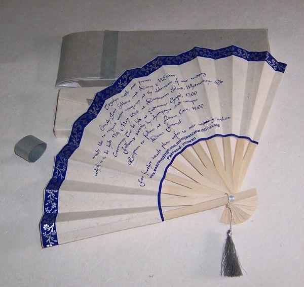 Asian fan wedding invitation