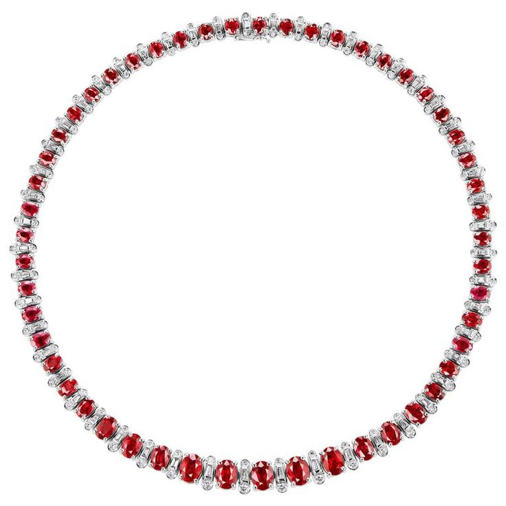 $98,000. 33.26 Carat Graduated Burmese Ruby and Diamond 18k Gold Necklace | From a unique collection of vintage more necklaces at https://www.1stdibs.com/jewelry/necklaces/more-necklaces/