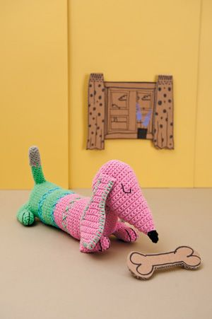 Meet Dachshund Ted!  You can make your own little cutie by visiting this link for the free pattern.