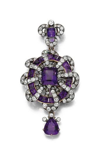 Amethyst And Diamond Pendant Comprising Of Central Step-Cut Amethyst Within A Surround Of Calibre-Cut Amethyst, Interwoven With A Ribbon Of Circular And Single-Cut Diamonds, To A Similarly Set Surmount And Drop    c.1880