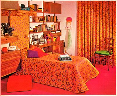 My room was similar, but not as fancy. Red, orange, a touch of lime green. Red and orange shag carpeting.