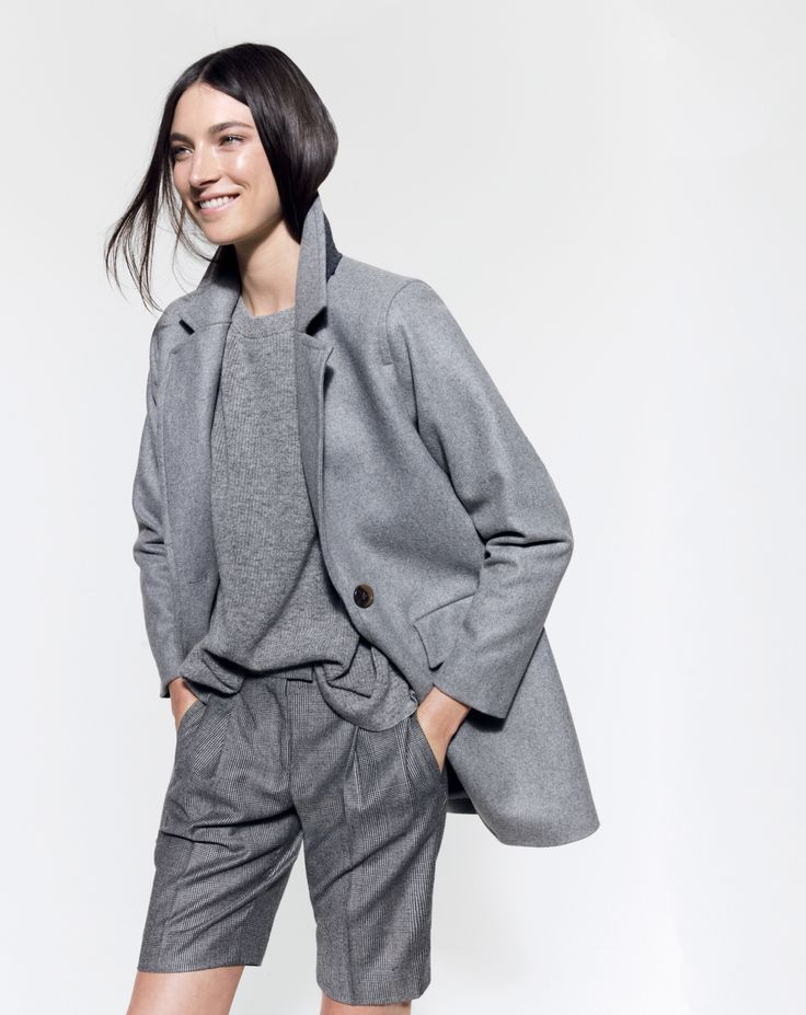 J.Crew, boyfriend coat and Collection bermuda short in glen plaid wool, all in gray coat style.