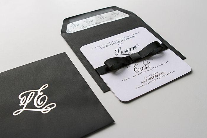 Minted black tie: Lusanne and Ernst's wedding as featured on Wedding Album magazine's website.