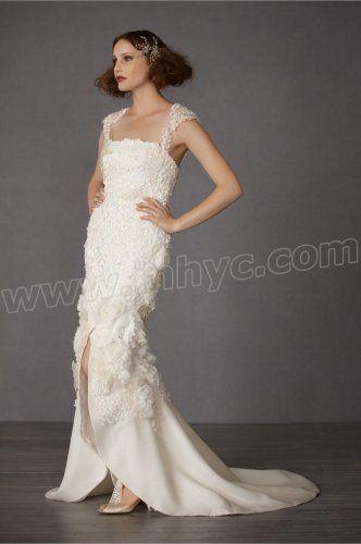 Chiffon Cap Sleeves Embroidered Bodice Wedding Dress