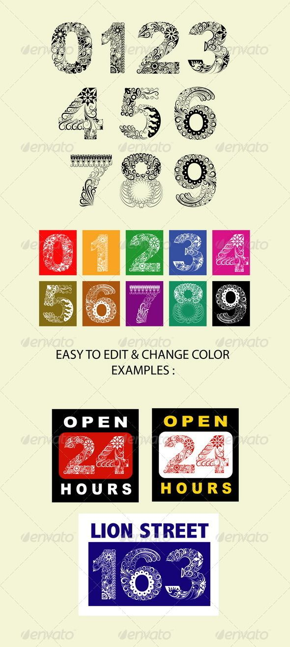 123 Ornaments #GraphicRiver Number with floral ornament decoration. Easy to edit & change color. Include examples (EPS, JPEG and AI files) Alternative keywords: batik, motif, curve, brush, stroke, flower, flourish, leaf, vignette, alphabet, 1,2,3,4,5,6,7,8,9,0, one, two, three, four, five, six, seven, eight, nine, o, zero, color, colorful, poster, cover, sign, design, curl, curly, antique, baroque, set, collection, group, bundle, clip, clip art, art, artistic, artwork, line, line art…