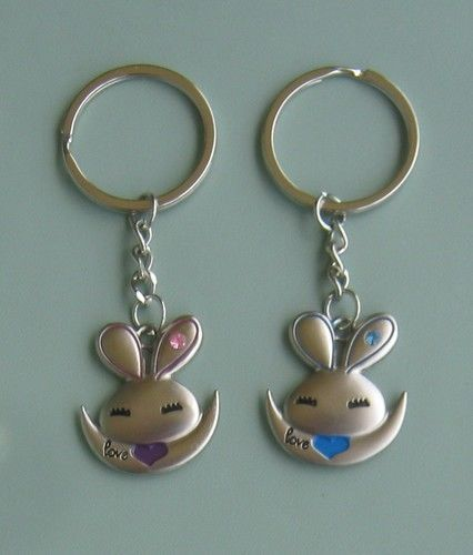2 pcs lovely rabbit hare Rhinestone charm pendant keyring key ring chain  gifts