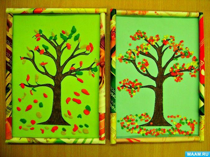 Художественное творчество с малышами «Осенние деревья» Фото