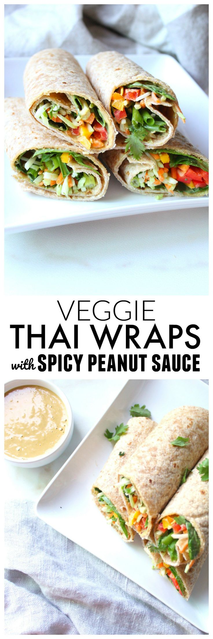These Veggie Thai Wraps with Spicy Peanut Sauce make a simple and delicious lunch, snack or dinner. Perfect for back to school! | ThisSavoryVegan.com