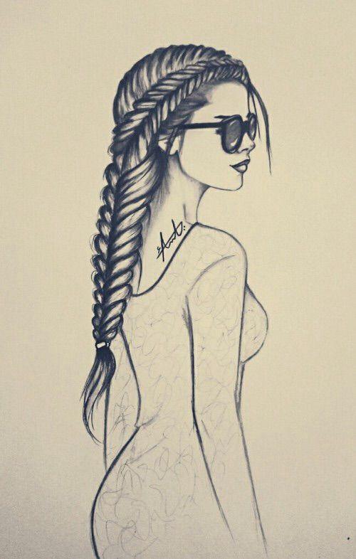 Cute girl hair drawings