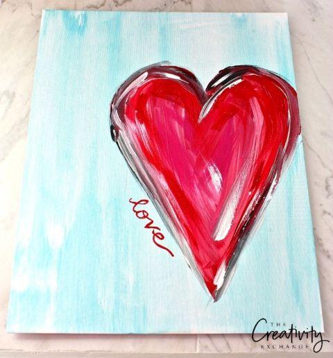 DIY heart acrylic painting tutorial. The Creativity Exchange
