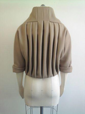 Pleated jacket back detail - creative pattern cutting; modern tailoring; sewing; fabric manipulation // Helen Rix