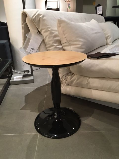 PARIGI Side table. Black Lacquer with solid sycamore top. Was £840 NOW £415. Ex-Display, Sold as Seen.