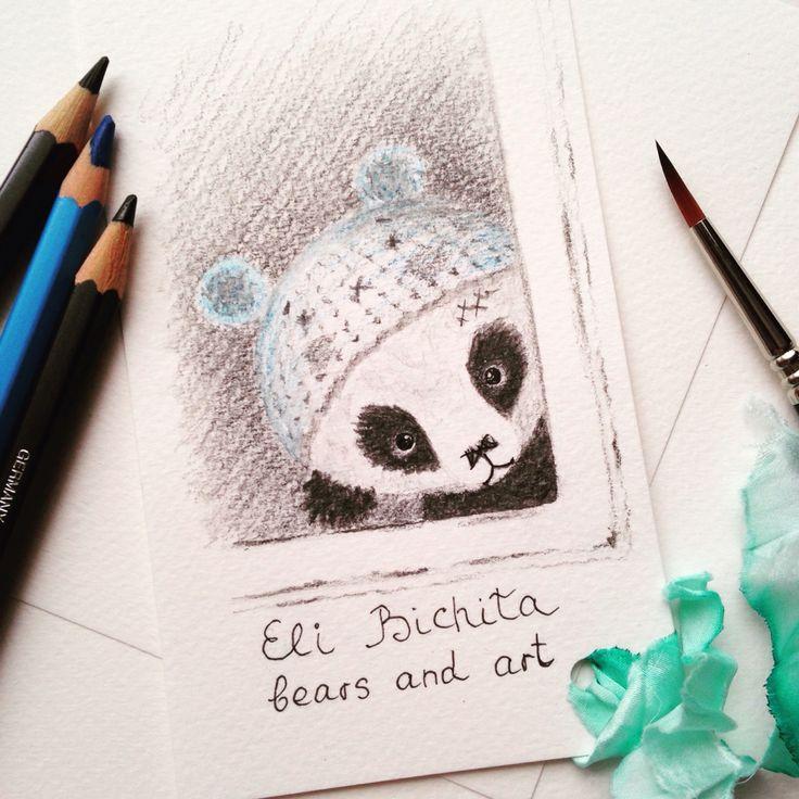 Panda teddy bear drawing with pencils панда тедди мишка рисунок карандашами графика illustration cartoon