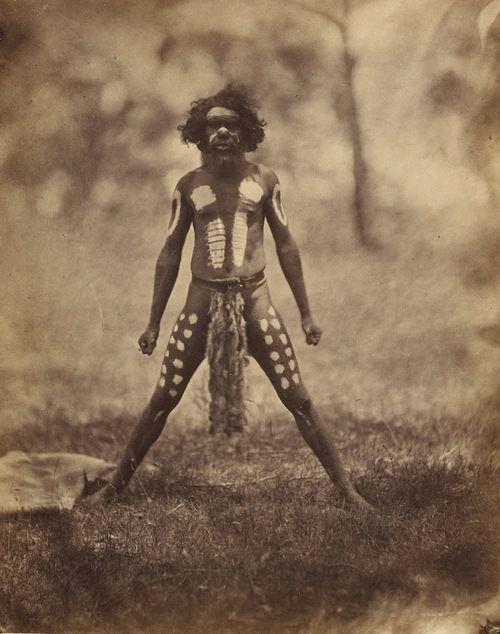 Antoine Fauchery (1823-1861) & Richard Daintree (1832-1878)  Aboriginal Man ornamented for a Corroboree, standing, full face, whole-length, circa 1858
