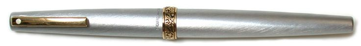 Lady Sheaffer fountain pen, brushed stainless steel, gold trim, 14crt 585 nib c. 1975, USA