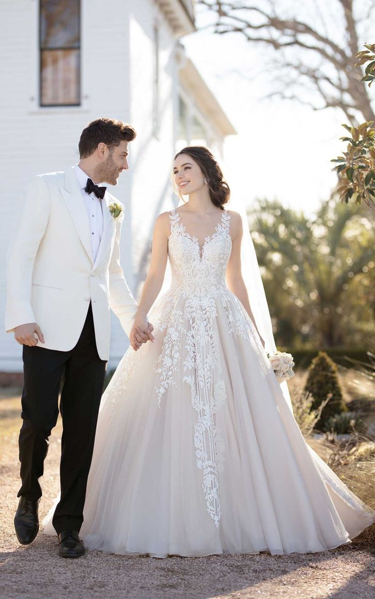 Ballgown Wedding Dress with Botanical Lace