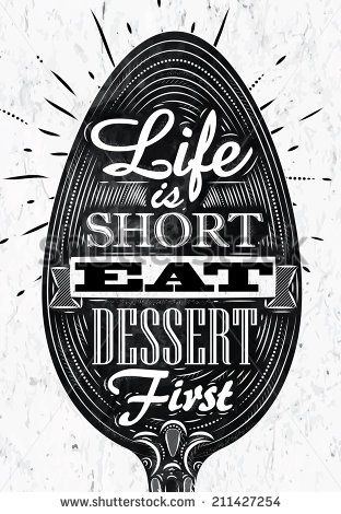 Poster spoon restaurant in retro vintage style lettering life is short eat dessert first in black and white graphics