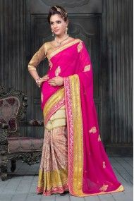 Net and Georgette Party Wear Designer Saree In Cream and Pink Colour