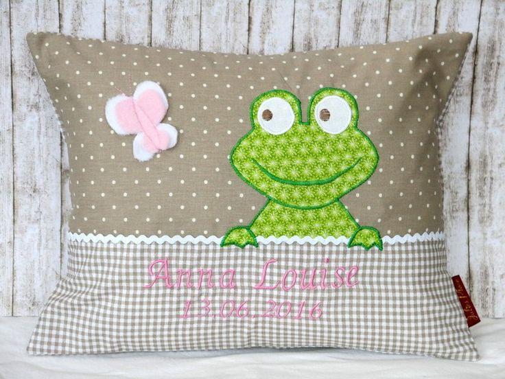 """Namenskissen & Decken - Namenskissen """" Frosch """" Das Original ! inkl.1.Name - ein Designerstück von Julies-Place bei DaWanda"""