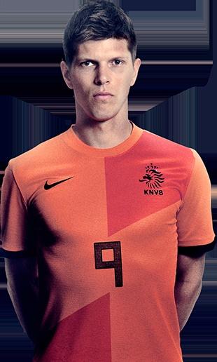 Dit is Klaas-Jan Huntelaar in het Nederlands elftal