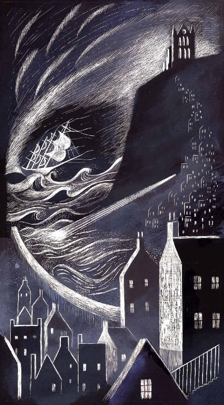 """""""Dracula: The Schooner Demeter Arriving into Whitby"""" by Ed Kluz for the """"Illustrating Dracula"""" project"""