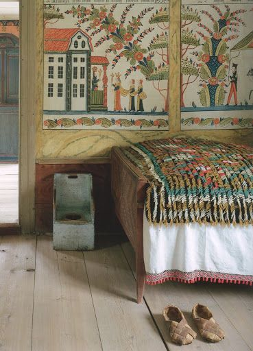 "Swedish wall mural from ""The Swedish Country House"" by Susanna Scherman."