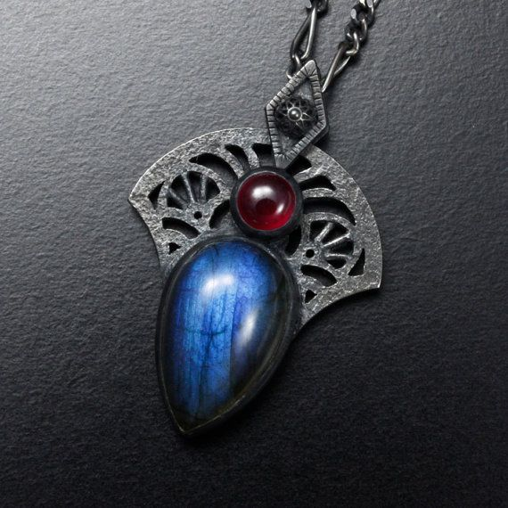 Blue labradorite ruby oxidized silver goth pendant by KAZNESQ
