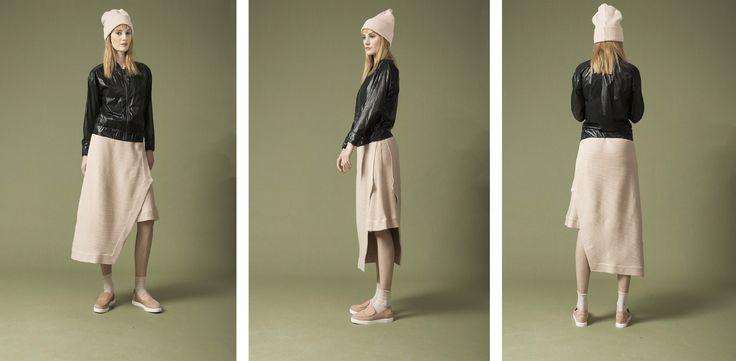 lasercut bomber jacket , asymmetric layered skirt