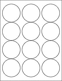 "12 2.5"""" Blank White Circle Labels"