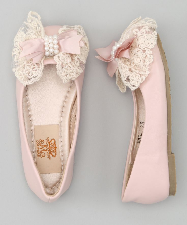 Evie's style - Pink & Crème Pearl Bow Ballet Flat