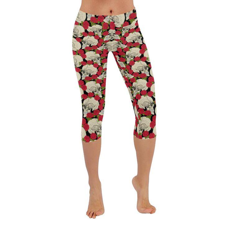 Roses and Skulls Printed Capri Leggings
