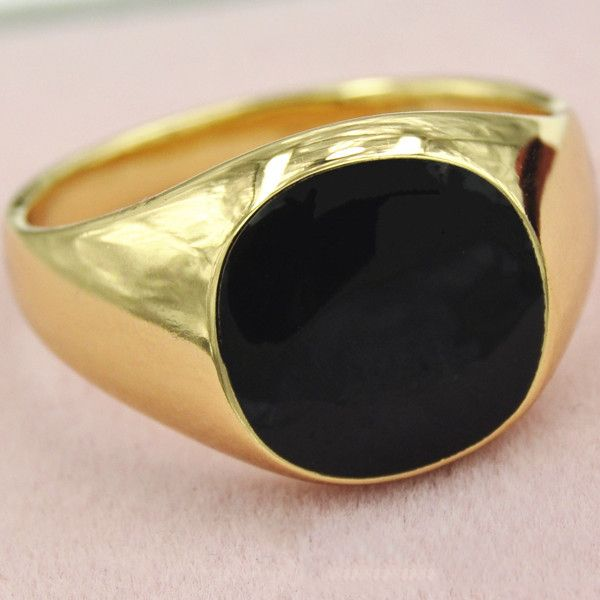 2016 Classical Men Rings Gifts Gold Plated Vogue Black Enamel Size 7/8/9/10/11/12 Wedding Rings For Men Anillos Free Shipping