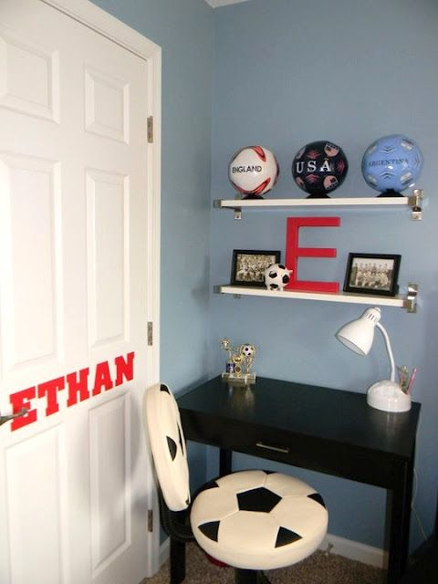 Seaside Interiors: Son's Soccer Room but also could be for a girl. I loooove the chair!!