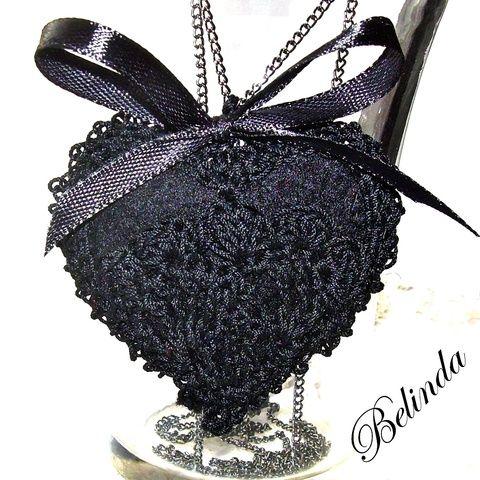 Nagyon fekete - nyaklánc horgolt díszítéssel, Ékszer, óra, Nyaklánc, Very black - crochet necklace, Meska 2300 Ft
