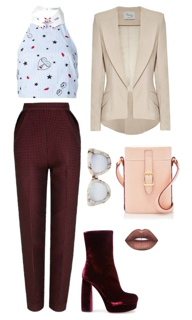 """""""Friday Funday"""" by trend-anonymous on Polyvore featuring VIVETTA, The 2nd Skin Co., Miu Miu, Lime Crime, Quay, Hebe Studio, velvet, polyvoreeditorial and Spring2017"""