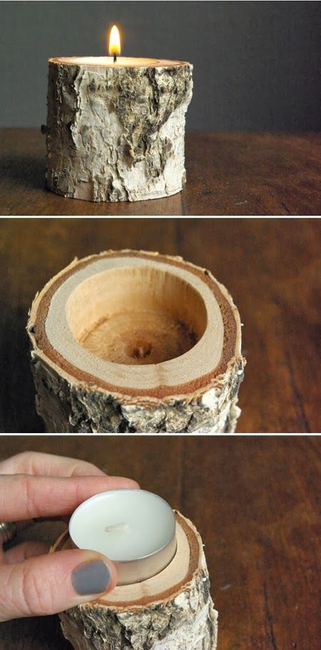 DIY birch wood candle holder. You need a 40mm Holesaw, which you put on the end of a drill. Drill down 18mm (0.7 inches) deep so the candle sits below the surface. Don't go deeper or you risk not being able to see the flame.