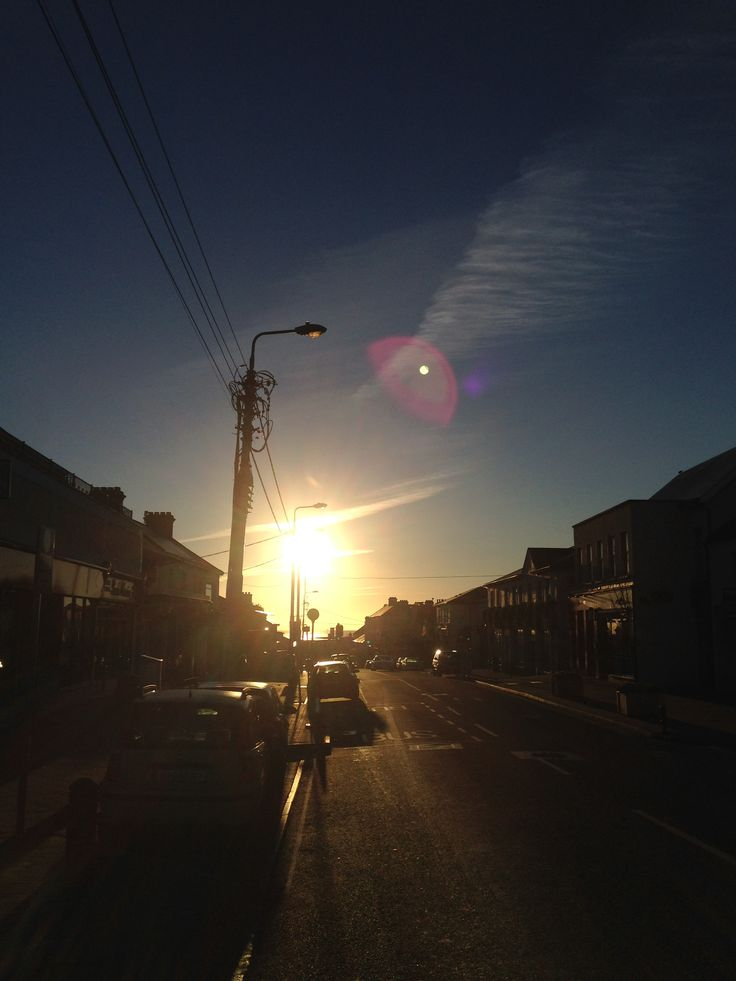 The sun bursting up Greystones main street! Lovely winter sun :)
