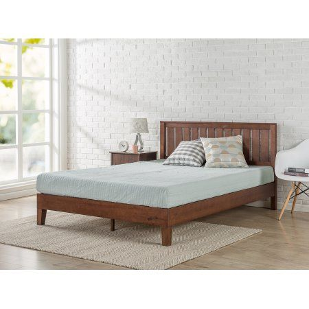Zinus Full 12 Inch Deluxe Solid Wood Platform Bed with Headboard, Brown
