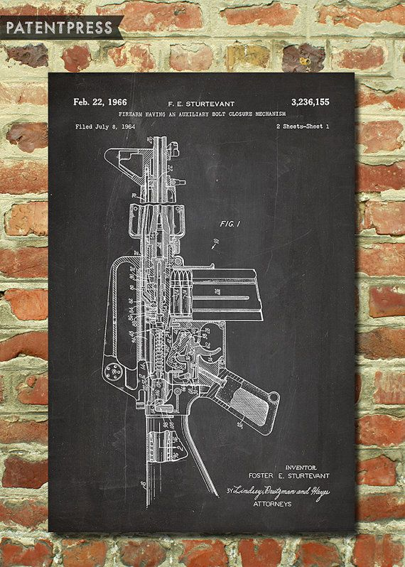 M16 Rifle Poster, Mens Army Gift for Military Gift Ideas, Military Art Decor, Man Cave Decor Shooting Gifts, Assault Rifle Patent Print P170