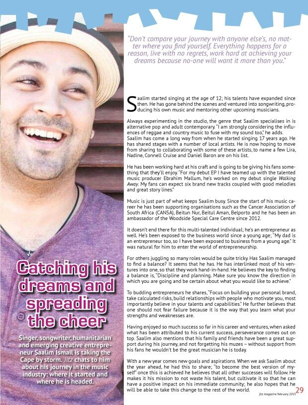 An interview with #JitzMagazine - February 2015 edition  #singer #songwriter #producer #motivational #speaker #musician #vocalist #entertainer #performer #artist #professional #creative #entrepreneur #capetown #southafrica #southafrican #saalimismail #independent #muzes #muze #pop #alternative #music #entertainment #talent