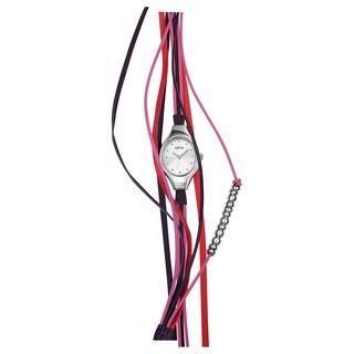 Montre Opex Filante. Cette montre pour Femme de la marque OPEX, est équipée d'un mouvement Quartz et d'un affichage analogique. Le boîtier rond est en acier inoxydable brossé étanche à 30 mètres, sur un bracelet, fermé par une boucle simple, en brins cuir prune, rose et rouge.