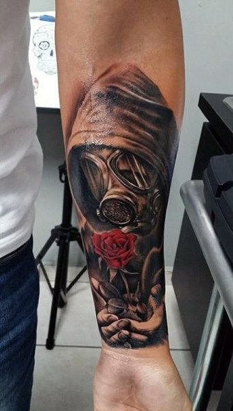 Guy Wrist Tattoo of Man in Gas Mask, Red Color Rose Flower … # Tattoos