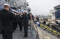 Romanian Commander of Naval Operations Rear Adm. Alexandru Mirsu arrives aboard the Arleigh Burke-class guided-missile destroyer USS Truxtun (DDG 103).