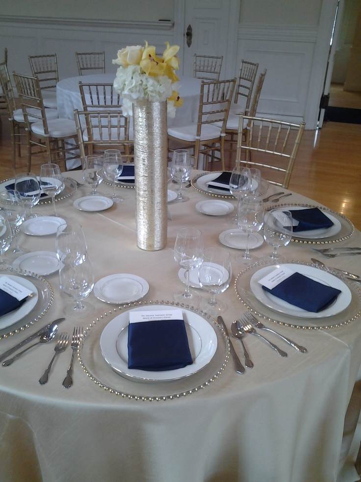 Ps Event Rental S Soft Gold Dupioni With Navy Blue Satin
