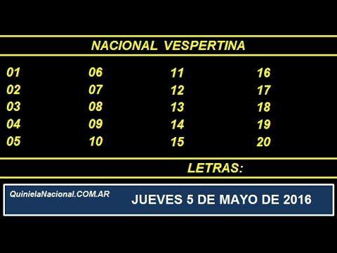 Quiniela Nacional Vespertina Jueves 5 de Mayo de 2016 www.quinielanacional.com.ar