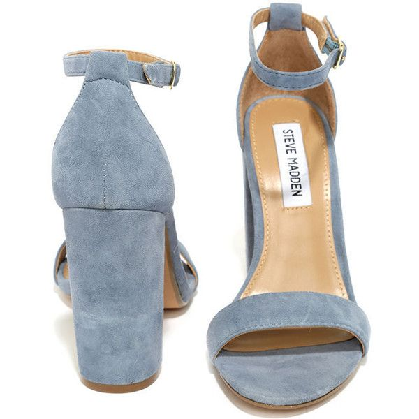 Steve Madden Carrson Blue Suede Leather Ankle Strap Heels ($89) ❤ liked on Polyvore featuring shoes, pumps, heels, suede shoes, ankle wrap shoes, blue pumps, suede pumps and blue shoes