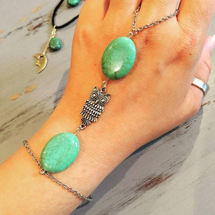 Owl & Turquoise Chain Wristlet