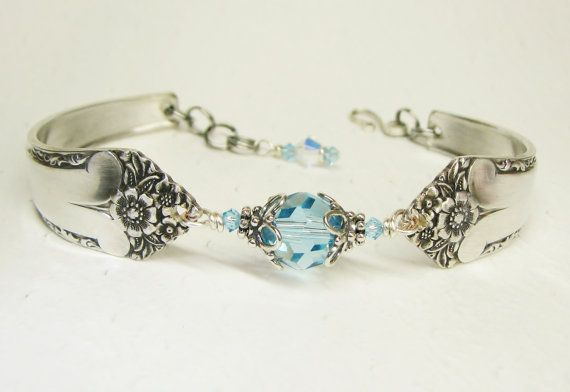 Spoon Bracelet, Aquamarine Crystals, Starlight 1950