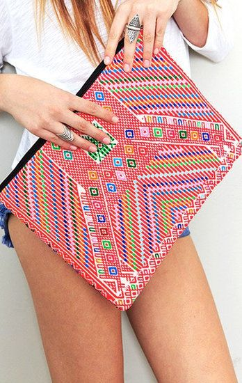 Precious Hands Huipil Laptop case in a cool tribal pink, orange, white, blue, and green color scheme.  $72