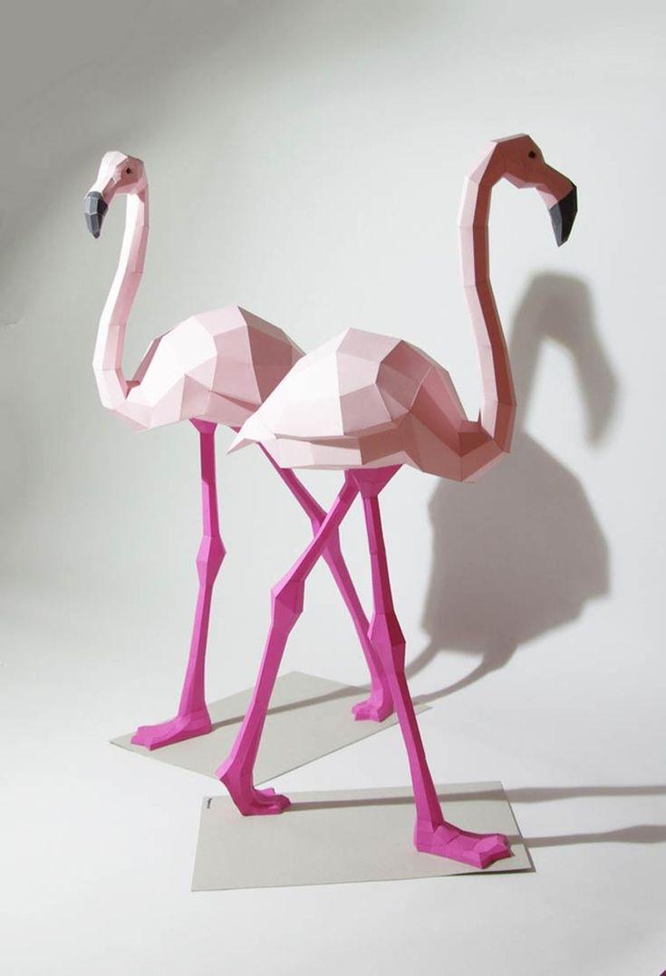 DIY Geometric Paper Animal Sculptures By Wolfram Kampffmeyer http://designwrld.com/diy-geometric-paper-animal-sculptures/